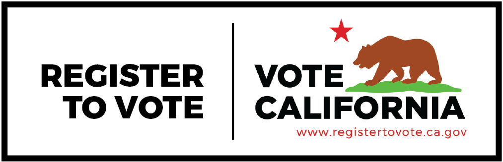 Vote California Bear with Register to Vote Text and regstertovote.ca.gov web address.