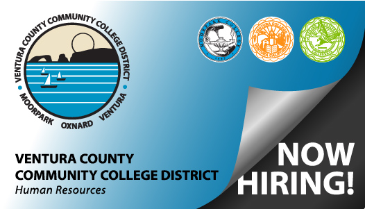 Business card graphic with the VCCCD logos and the text Ventura County Community College District Human Resources - Now Hiring!